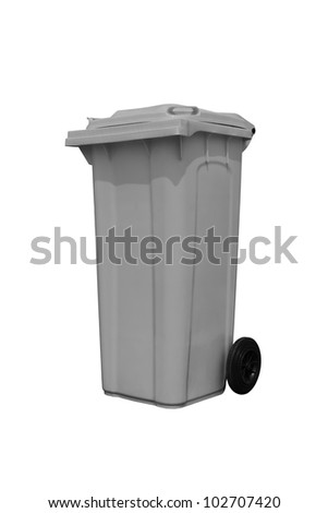 Large gray trash can (garbage bin) with wheel, isolated on white background