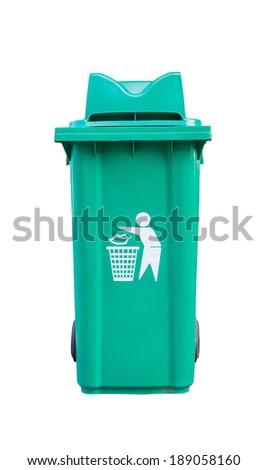 Large green garbage bin on white background with clipping path