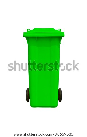 Large green trash can (garbage bin) with wheel, isolated on white background