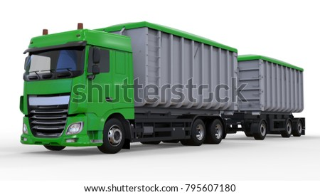Large green truck with separate trailer, for transportation of agricultural and building bulk materials and products. 3d rendering. #795607180