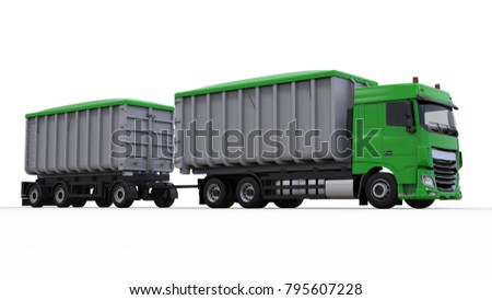 Large green truck with separate trailer, for transportation of agricultural and building bulk materials and products. 3d rendering. #795607228