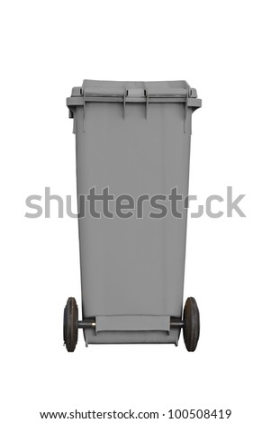 Large grey garbage bin with wheel in white background