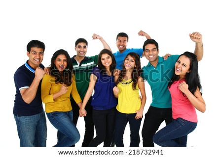 Large group of Asian friends celebrating success, isolated on white background.