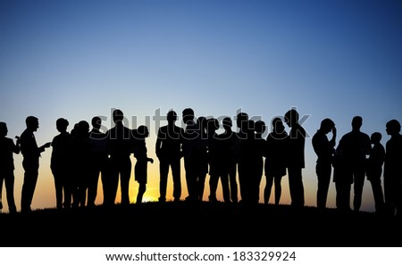 Large Group of Business People at Sunset #183329924