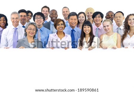 Large Group of Business People Holding Board