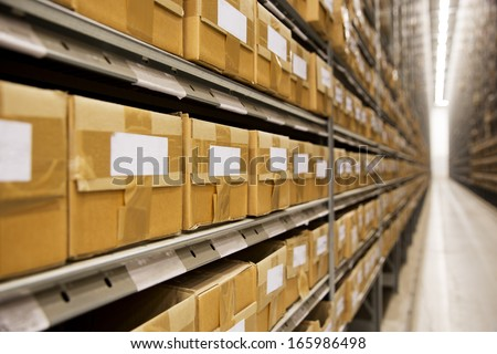 Large group of cardboard boxes in a warehouse