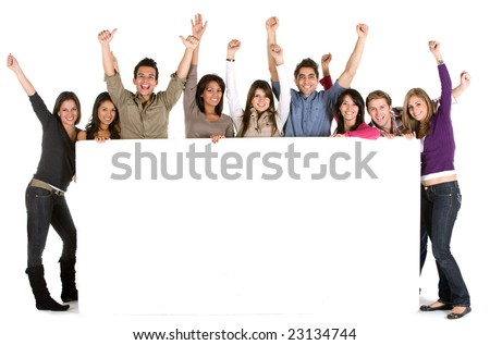 Large group of cheerful people holding a banner add isolated