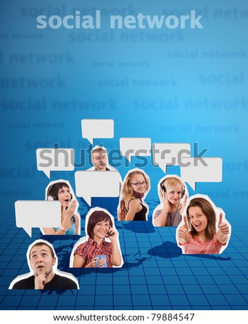 Large group of cheerful womens and banner add isolated