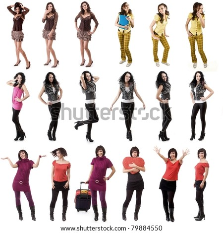 Large group of cheerful womens and banner add isolated - stock photo