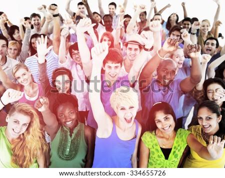 Large Group of Community People Celebrating Concept