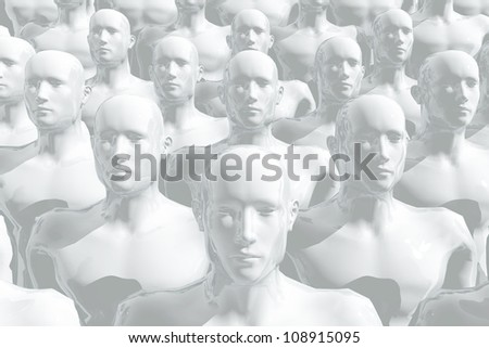 Large group of equal people