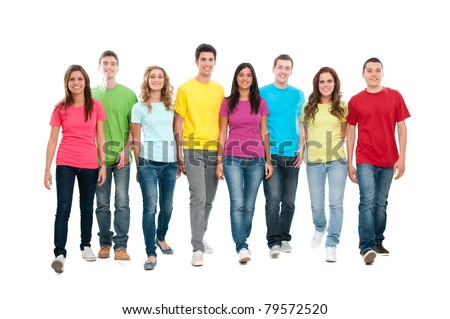 Large group of friends walking together and looking at their future isolated on white background