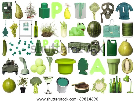 Large group of Green objects isolated on white background - stock photo