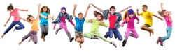 Large group of happy children exercising, jumping and having fun. Isolated over white background. Childhood, happiness, active lifestyle concept
