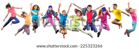 Large group of happy children exercising, jumping and having fun. Isolated over white background. Childhood, happiness, active lifestyle concept #225323266