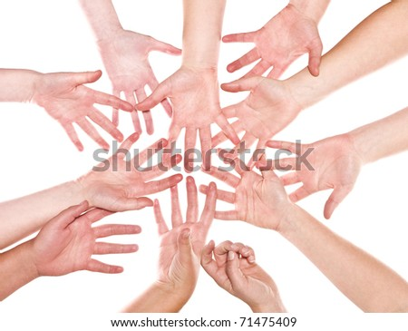 Large group of human hands isolated on white background - stock photo