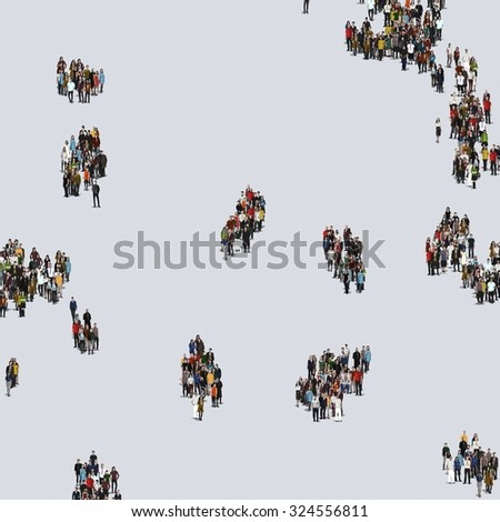 Large group of people, crowd forming various shapes across surface on grayish constant background for posters and advertisement. #324556811