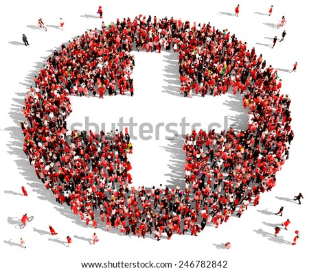 Large group of people dressed in red clothes gathered together in the shape of a plus sign