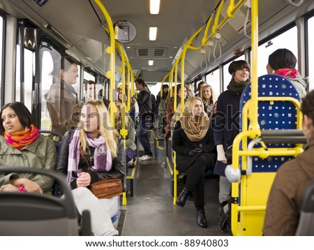 Large group of People going by bus