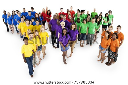 Large group of people of diverse ages and nationalities #737983834