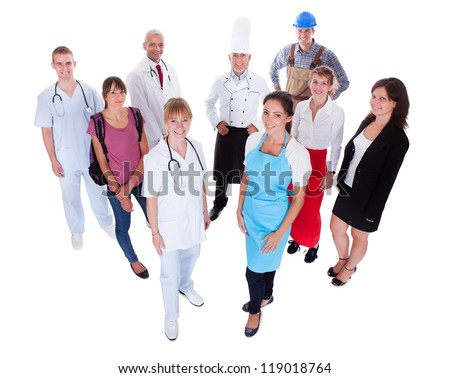 Large group of people representing diverse professions including