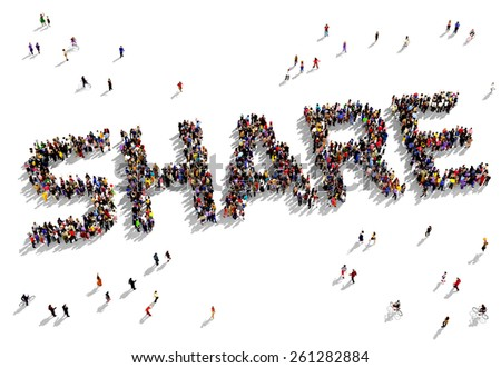 Large group of people seen from above gathered together in the form of