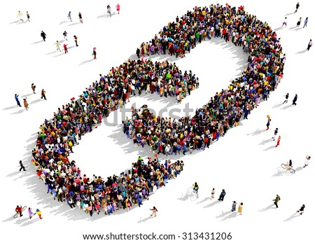 Large group of people seen from above gathered together in the shape of a link symbol