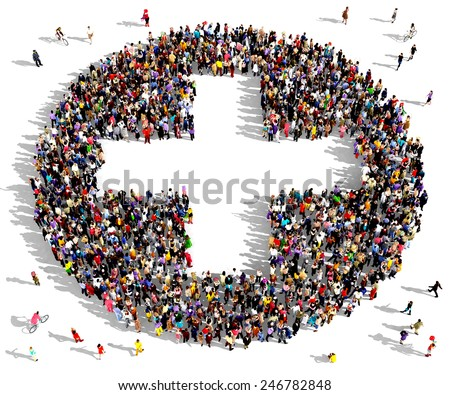 Large group of people seen from above gathered together in the shape of a plus sign