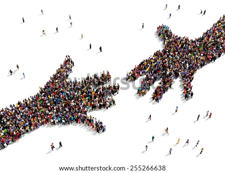 large group of people seen from ...