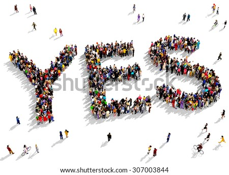 Large group of people seen from above gathered together in the shape of