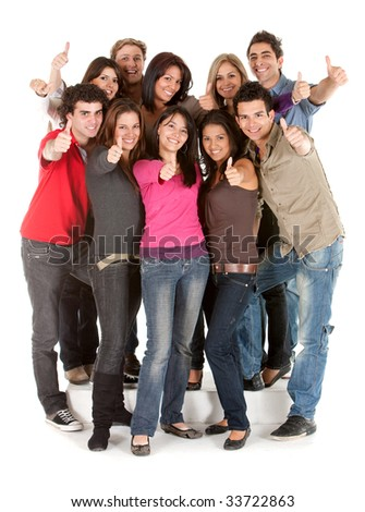 Large group of people with thumbs up isolated