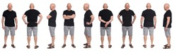 large group of same Bald man with sandals t-shirt and shorts on white
