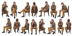 large group of same middle aged man with blazer and various poses sitting on a chair on white background