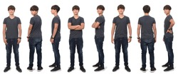 large group of same teenage boy with front,back and side view on white background