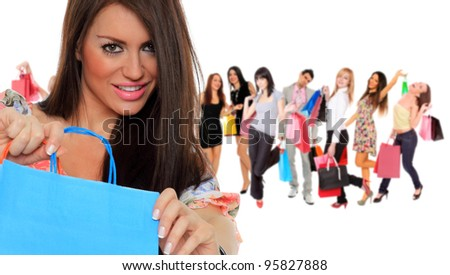 Large group of shopping people holding bags