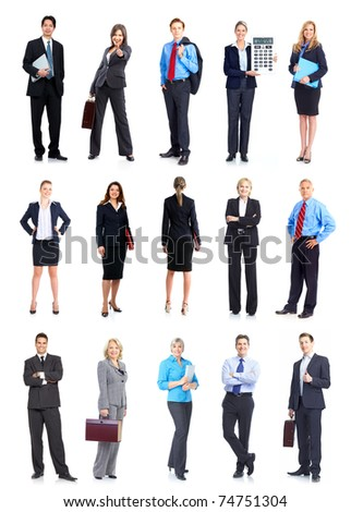 Large group of smiling business people. Isolated over white background.