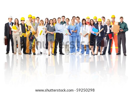 Large group of smiling workers people Over white background