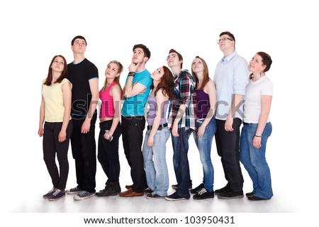 Large group of teenager thinking to the same thing with thought bubble with copy space