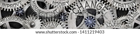 Large group of tooth wheels with Change, Management, Shift, Plan and Strategy concept related words imprinted on metal surface Stockfoto ©