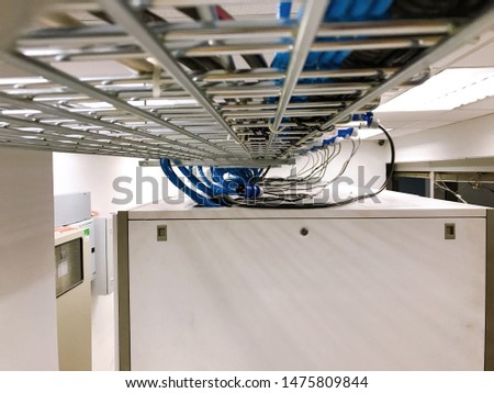 Large group of UTP cables, Ethernet cables and Fiber in cable tray. #1475809844