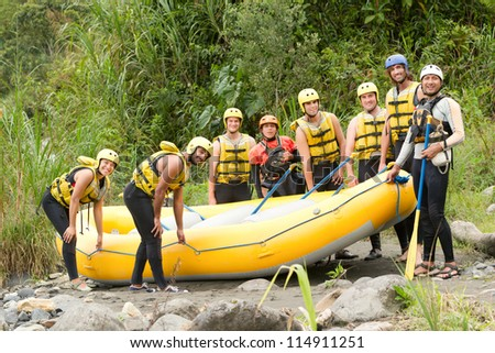 Large group of young people read to go rafting