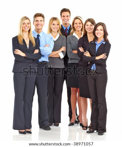 Large group of young smiling business people. Over white background #38971057
