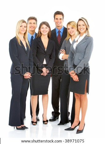 Large group of young smiling business people. Over white background #38971075