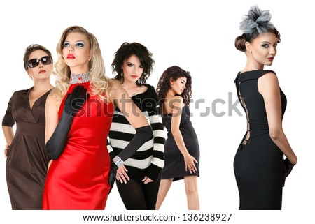 Large group of young women isolated over white background