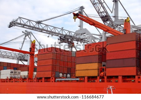 Large harbor cranes at the port of Rotterdam , Holland europoort