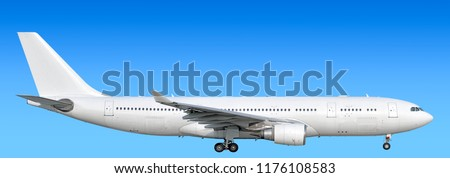 Large heavy modern wide body passenger twin jet engine airplane with gear side panoramic detailed close up exterior view reference isolated on blue sky background air travel transportation theme