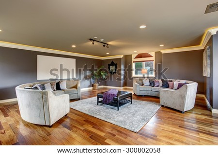 Large home theater room with projection unit and gray sofas. #300802058