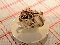 Large homemade french irregular meringue with chocolate in a white cup and saucer, on a red checkered tablecloth