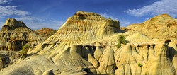 Large hoodoo mountain of the Dinosaur Provincial Park in the Canadian Badlands, Alberta - UNESCO World Heritage Site