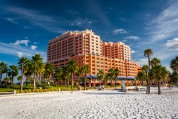 Large hotel and palm trees on the beach in Clearwater Beach, Florida.